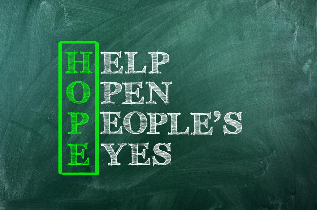 Acronym of Hope written  on green chalkboard
